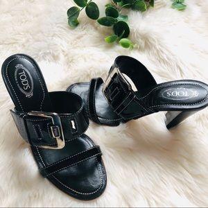 Tod's black Slip on heels size 5.5